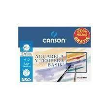 PAPEL ACUARELA A4 (BOLSA 6 H) 370GR BASIK CANSON
