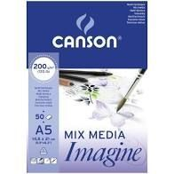 BLOC MIX MEDIA A5 50H 200G CANSON IMAGINE